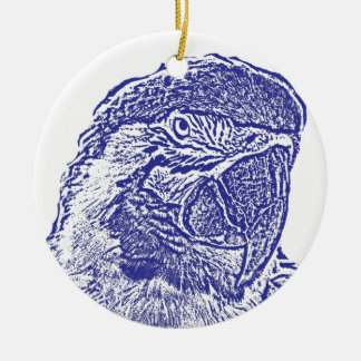 macaw head view graphic blue outline parrot ornaments
