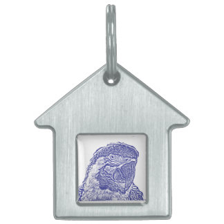 macaw head view graphic blue outline parrot pet tag
