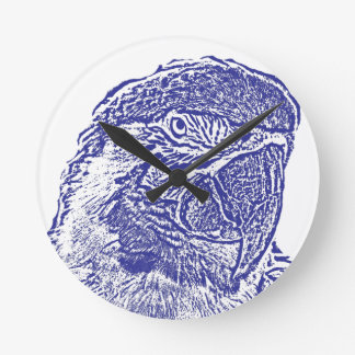 macaw head view graphic blue outline parrot round clock