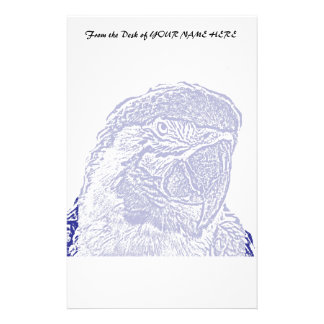 macaw head view graphic blue outline parrot stationery