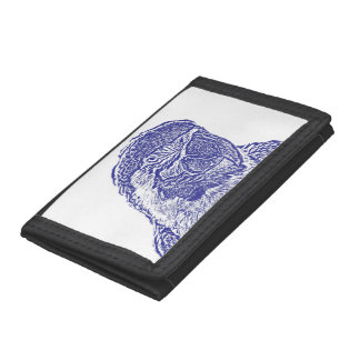 macaw head view graphic blue outline parrot tri-fold wallets