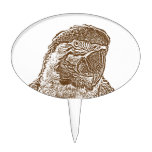 macaw head view graphic brown outline parrot.png cake pick