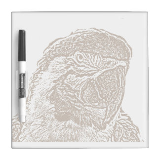 macaw head view graphic brown outline parrot.png dry erase board