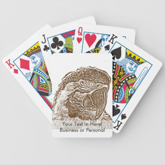 macaw head view graphic brown outline parrot.png bicycle playing cards