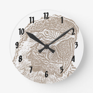 macaw head view graphic brown outline parrot.png round clock