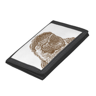 macaw head view graphic brown outline parrot.png tri-fold wallet