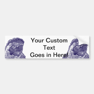 macaw head view graphic d blue outline parrot bumper sticker