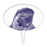 macaw head view graphic d blue outline parrot cake topper