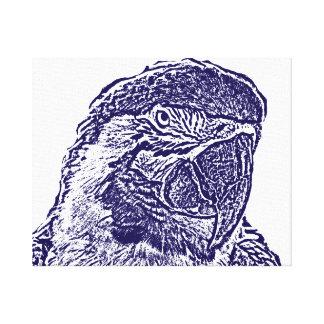 macaw head view graphic d blue outline parrot canvas print