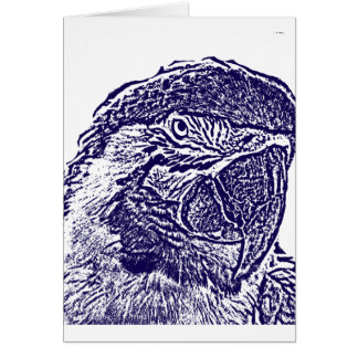 macaw head view graphic d blue outline parrot card
