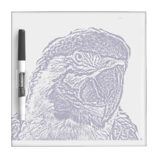 macaw head view graphic d blue outline parrot dry erase whiteboard