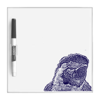 macaw head view graphic d blue outline parrot Dry-Erase whiteboard