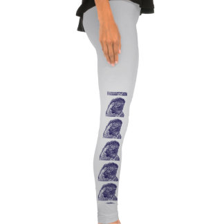 macaw head view graphic d blue outline parrot legging tights