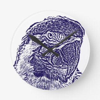 macaw head view graphic d blue outline parrot wall clock