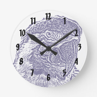 macaw head view graphic d blue outline parrot round clock