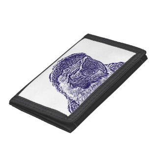 macaw head view graphic d blue outline parrot trifold wallet