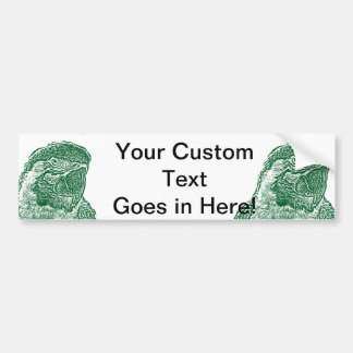 macaw head view graphic green outline parrot bumper sticker
