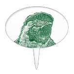 macaw head view graphic green outline parrot cake toppers