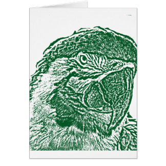 macaw head view graphic green outline parrot card