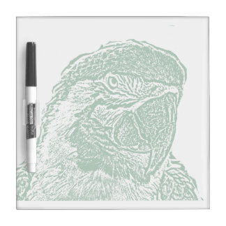 macaw head view graphic green outline parrot dry erase board