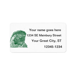 macaw head view graphic green outline parrot label