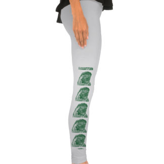 macaw head view graphic green outline parrot legging tights