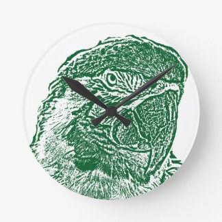 macaw head view graphic green outline parrot round clock