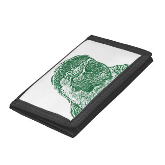 macaw head view graphic green outline parrot tri-fold wallet