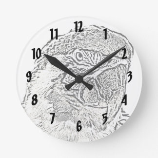 macaw head view graphic outline parrot clock