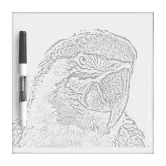 macaw head view graphic outline parrot Dry-Erase boards