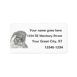 macaw head view graphic outline parrot label
