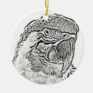 macaw head view graphic outline parrot christmas ornament