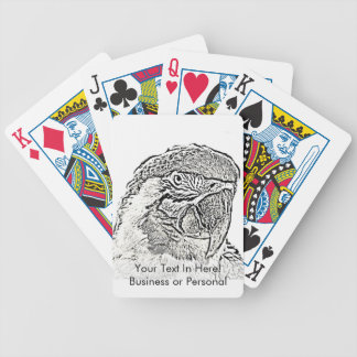 macaw head view graphic outline parrot bicycle playing cards