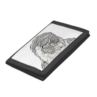 macaw head view graphic outline parrot trifold wallet