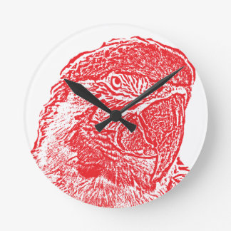 macaw head view graphic red outline parrot round clock