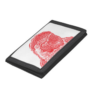 macaw head view graphic red outline parrot trifold wallets