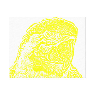 macaw head view graphic yellow outline parrot canvas print