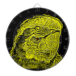 macaw head view graphic yellow outline parrot dart boards