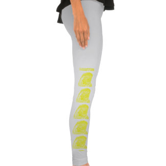 macaw head view graphic yellow outline parrot leggings