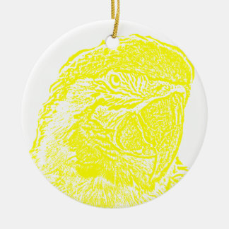 macaw head view graphic yellow outline parrot christmas tree ornaments