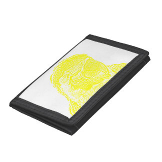 macaw head view graphic yellow outline parrot trifold wallet