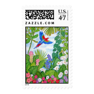 Macaw in Flight Postage Stamp