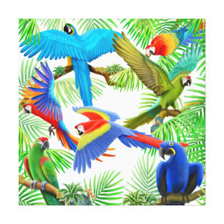 Macaw Jungle Wrapped Canvas