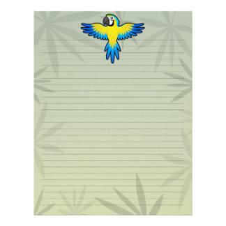 Macaw/loro del dibujo animado membrete