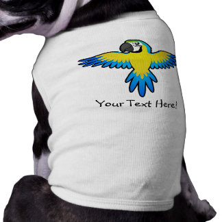Macaw/loro del dibujo animado playera sin mangas para perro