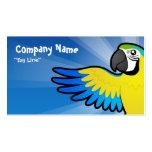 Macaw/loro del dibujo animado plantilla de tarjeta de negocio
