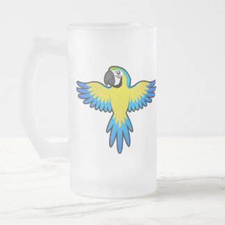 Macaw/loro del dibujo animado taza de cristal