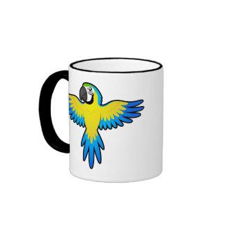 Macaw/loro del dibujo animado taza de dos colores
