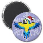 Macaw/loro del navidad imán redondo 5 cm