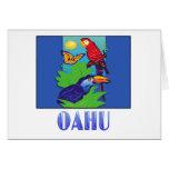 Macaw, loro, mariposa y selva OAHU Tarjeta De Felicitación